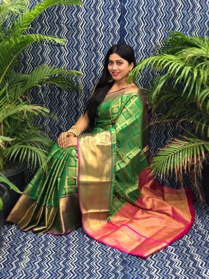 Beautiful Green Banarasi Silk Saree grabandpack