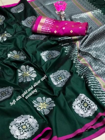 Beautiful Lichi Silk Weaving Jacquard Green Saree grabandpack