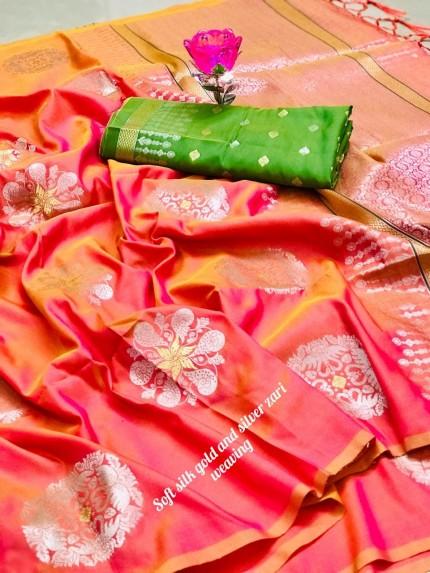 Beautiful Lichi Silk Weaving Jacquard Peach Saree grabandpack