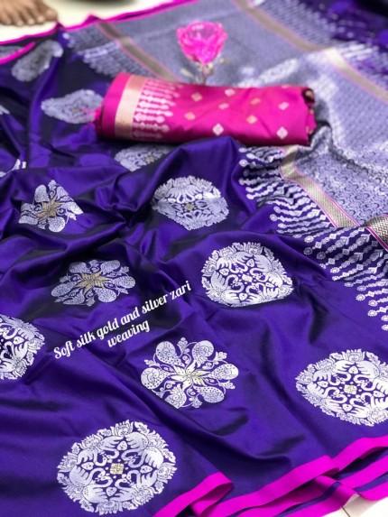 Beautiful Lichi Silk Weaving Jacquard purple Saree grabandpack