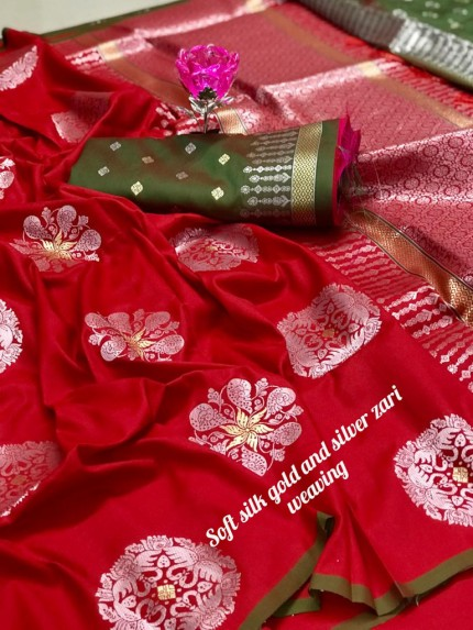 Beautiful Lichi Silk Weaving Jacquard Red Saree grabandpack