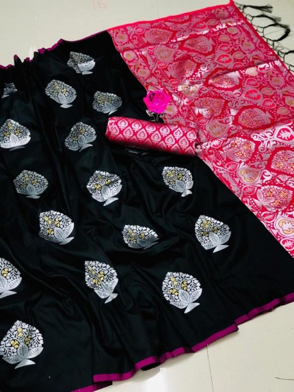 Beautiful Look Black Color Lichi Silk weaving Jacquard Saree gnp0107945
