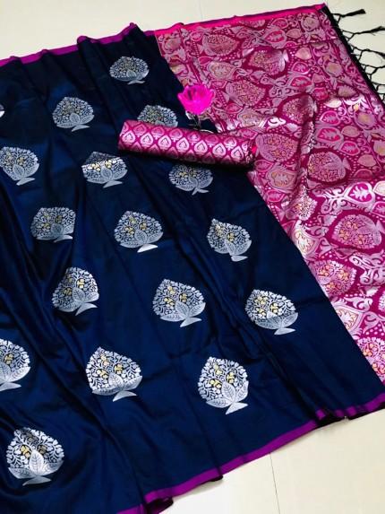 Beautiful Look Black Color Lichi Silk weaving Jacquard Saree