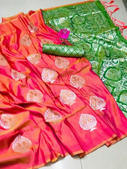 Beautiful Look Sea Peach Color Lichi Silk weaving Jacquard Saree