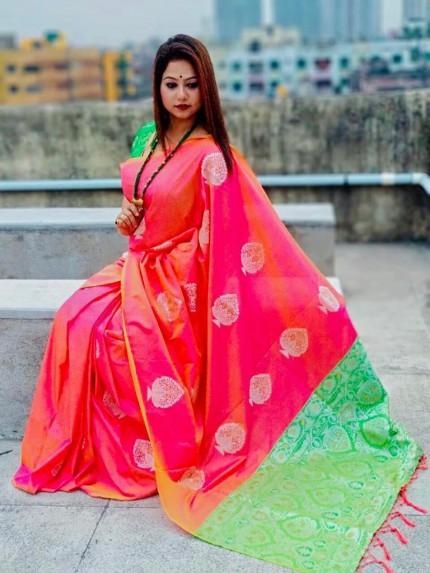 Beautiful Look Peach Color Lichi Silk weaving Jacquard Saree