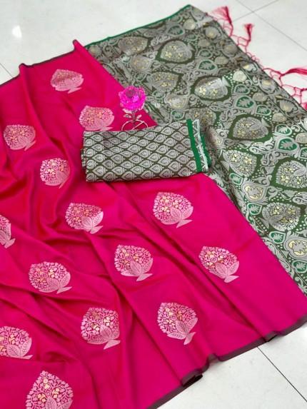 Beautiful Look Sea Pink Color Lichi Silk weaving Jacquard Saree