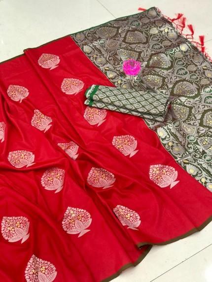 Beautiful Look Red Color Lichi Silk weaving Jacquard Saree
