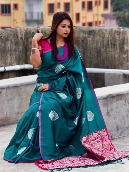 Beautiful Look Sea Green Color Lichi Silk weaving Jacquard Saree