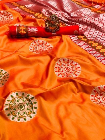 orange silk saree blouse designs grabandpack