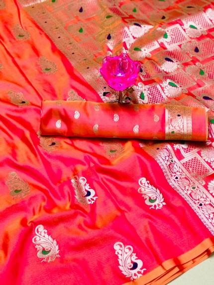 GrabandPack Beautiful Peach Banarasi Lichi Silk Weaving Jacquard Saree