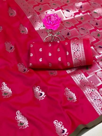 GrabandPack Beautiful Pink Banarasi Lichi Silk Weaving Jacquard Saree