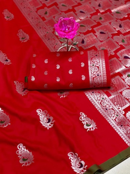 GrabandPack Beautiful Red Banarasi Lichi Silk Weaving Jacquard Saree
