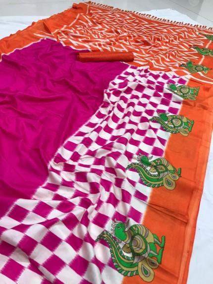 Beautiful Pink semi Handloom Linen Chanderi Saree