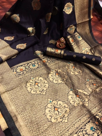 Black Banarasi Lichi Silk Saree grabandpack