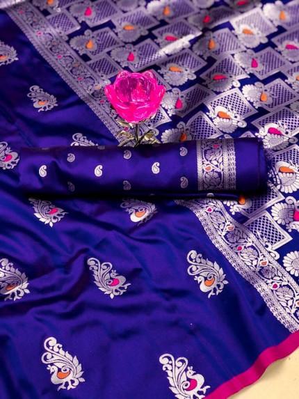 GrabandPack Beautiful Violet Banarasi Lichi Silk Weaving Jacquard Saree