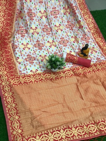 Beautiful red soft banarasi lichi silk patola saree