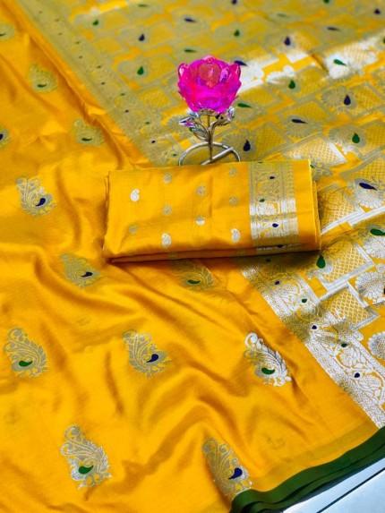 GrabandPack Beautiful Yellow Banarasi Lichi Silk Weaving Jacquard Saree
