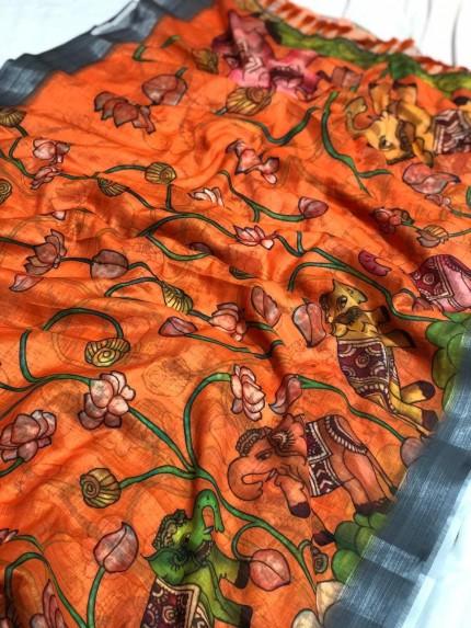 pure linen sarees online shopping