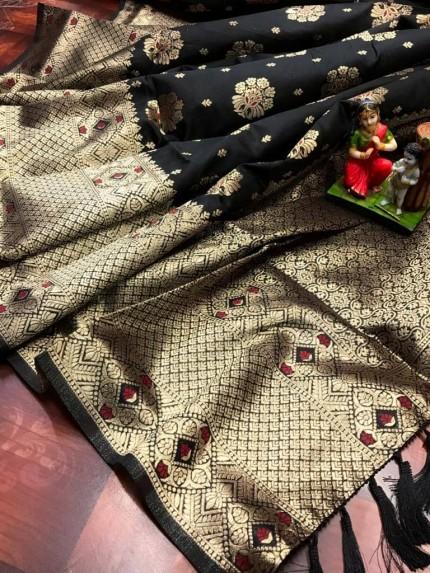 Black Attractive Soft Banarasi Silk Saree