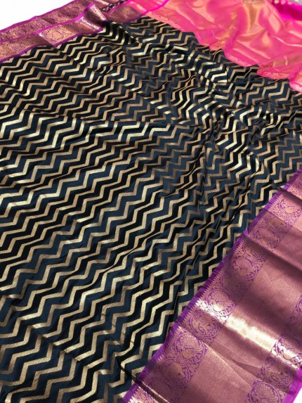 Black Banarasi Silk With Zari Work Saree - gnp009393