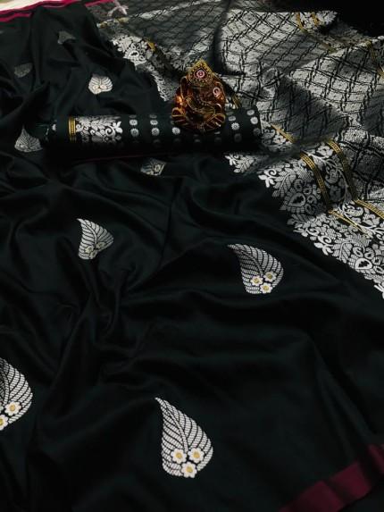 Black Colored Soft Lichi Silk Saree with Silver and Gold Zari - gnp009668