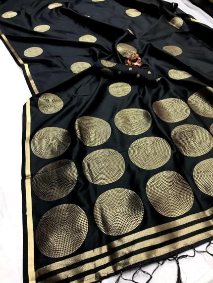 GrabandPack Black Coloured Lichi silk saree