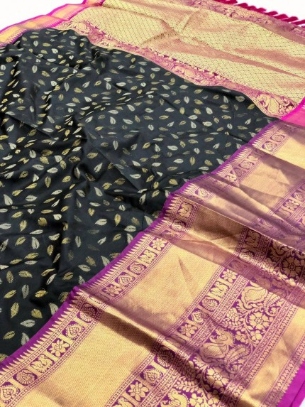 Black kanchipuram silk saree by grabandpack.com