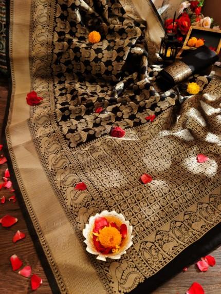 Black kanjeevaram silk saree online shopping