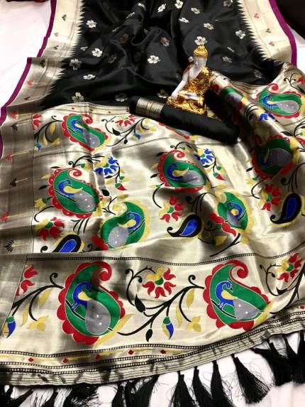 Black Kanjeevaram silk sarees online shopping
