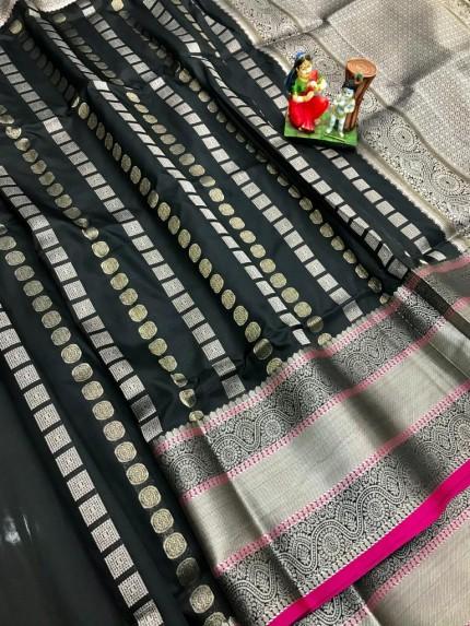 Black lichi silk saree online