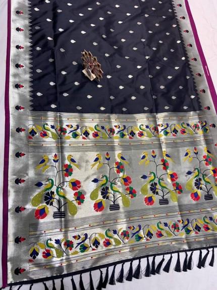 Black Pethani Silk Blend Festive Wear Saree