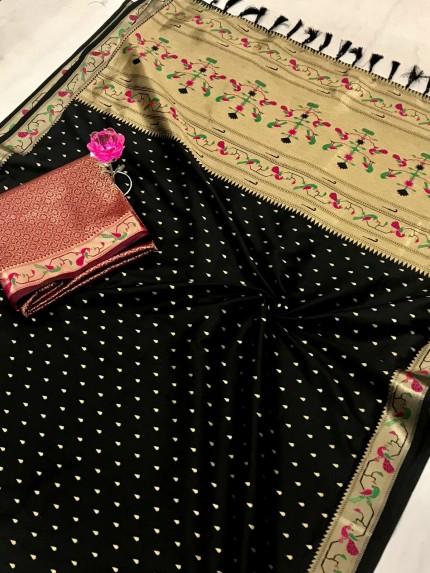 Black Pure Soft Mina Zari Weaving Paithani Saree - gnp0108741