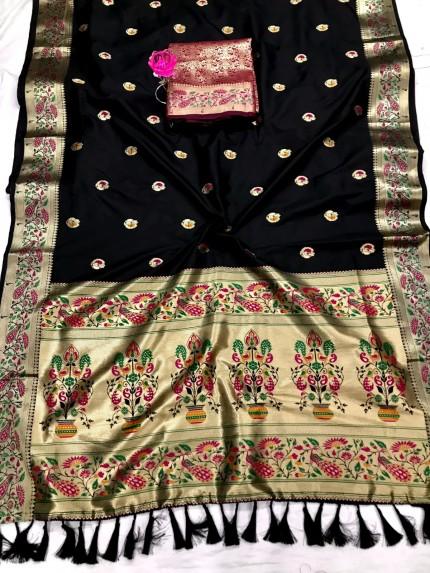 Black Pure Zari With Heavy and Minakari Pallu Saree - gnp0108696