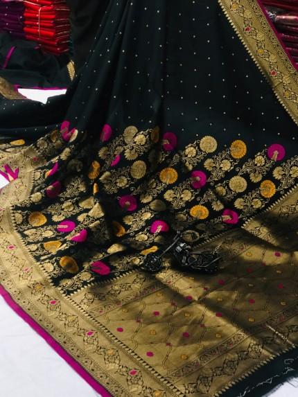 women's Attractive Soft Silk Saree in Black