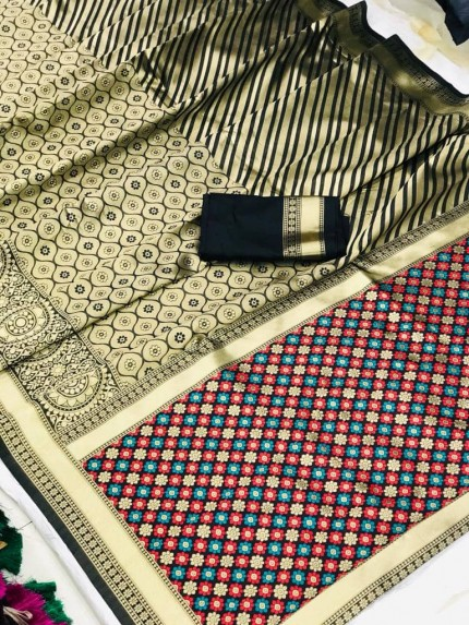 Grabandpack Black Soft silk south indian style saree