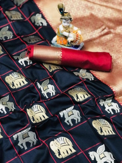soft silk with gold and silver zari weaving work with rich look and rich pallu (Black)