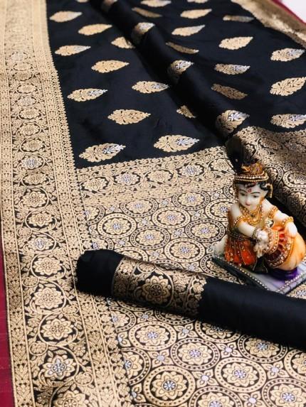 Black Super Soft Banarasi Silk Saree With Weaving Gold Jari - gnp00960