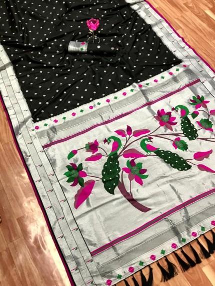 Black Zari Woven Kanchipuram Silk Saree grabandpack