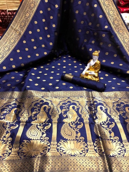 Blue color Soft silk saree online
