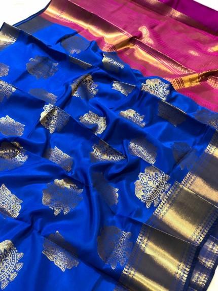 Banarasi silk saree with beautiful zari work and banarasi zari pallu