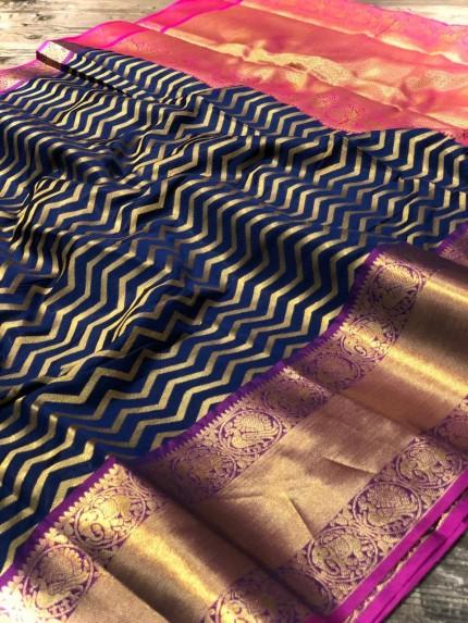 Blue Banarasi Silk With Zari Work Saree - gnp009003