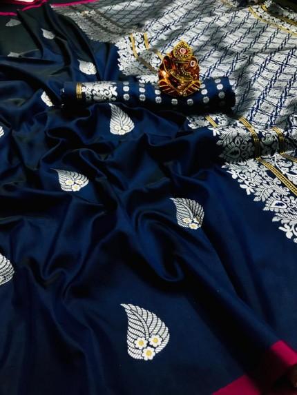 Blue Colored Soft Lichi Silk Saree with Silver and Gold Zari - gnp009669
