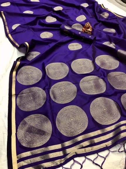 GrabandPack Blue Coloured Lichi silk saree