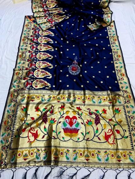 Blue Pethani Silk Saree With Full Jacquard Weaving Big Border - gnp0108785