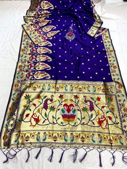 Blue Pethani Silk Saree With Full Jacquard Weaving Big Border - gnp0108786