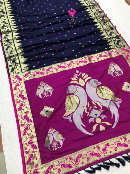 Blue and Pink Function Special Pethani Silk saree