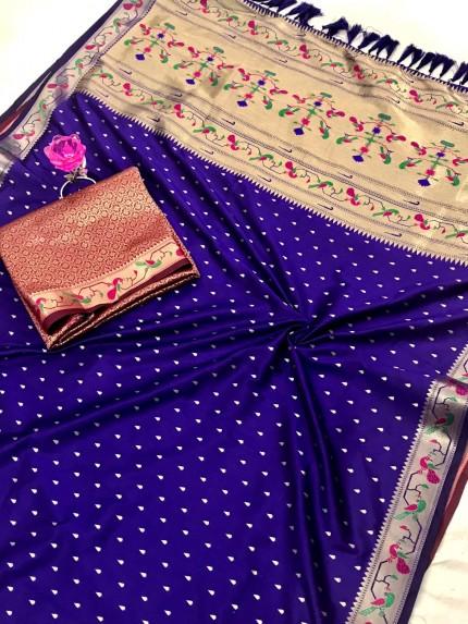 Blue Pure Soft Mina Zari Weaving Paithani Saree - gnp0108742