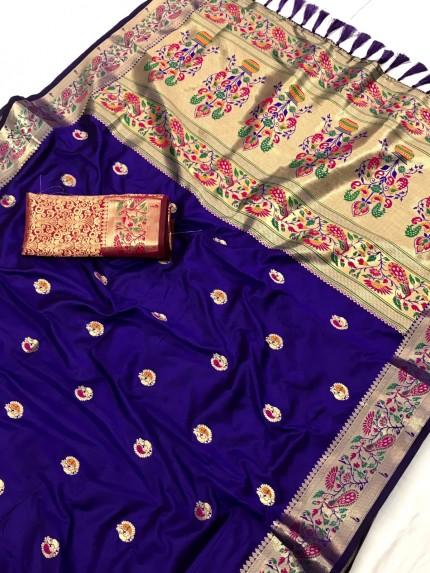 Blue Pure Zari With Heavy and Minakari Pallu Saree - gnp0108697