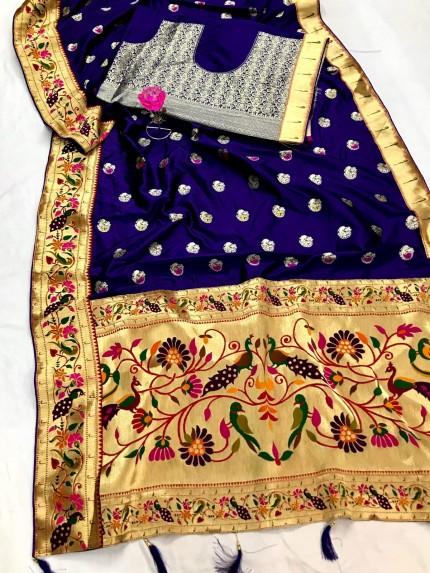 Blue Silk Saree with Full Weaving Border Paithani Saree with Rich Pallu - gnp0108820