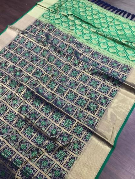 blue soft Banarasi Patola silk Saree at grabandpack